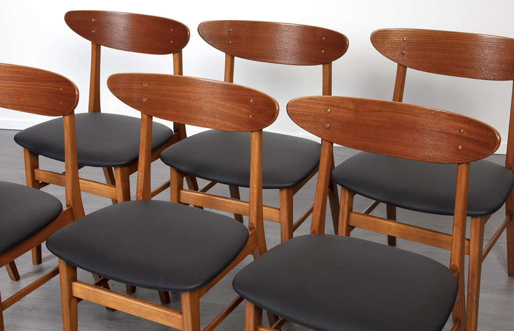 Danish 1960 S Set X 6 Teak Amp Beech Dining Chairs 20th