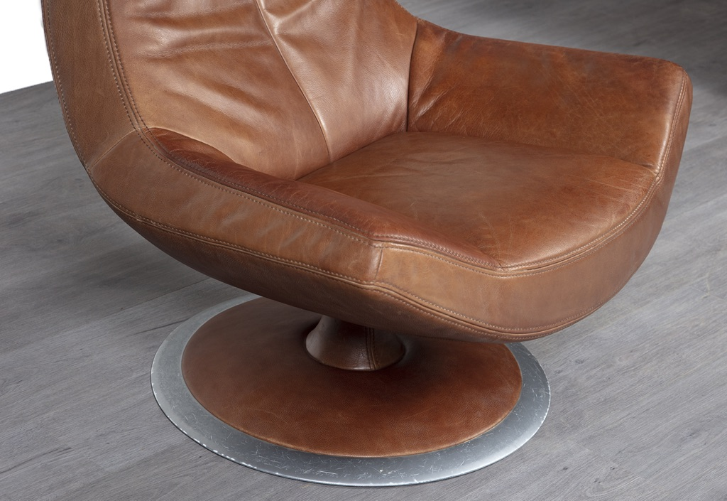 German Leather Swivel Armchair 20th Century Scandinavia